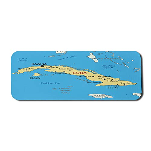 Ambesonne Wanderlust Mouse Pad for Computers, Republic of Cuba Modern Geographical Island Atlantic Ocean Illustration, Rectangle Non-Slip Rubber Gaming Mousepad Large, 31' x 12', Blue White Yellow