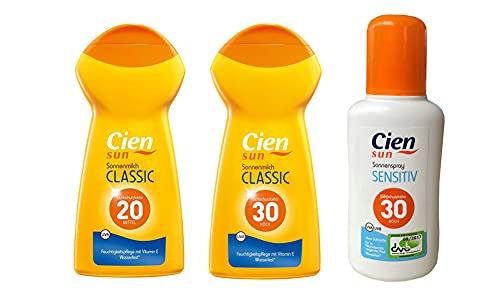 Cien Sun Classic Sonnenmilch Sonnenspray UV Schutz Sonnencreme 3er Set LSF 20/30/30