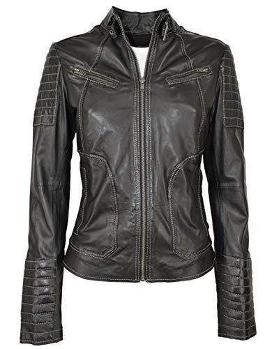 COCO BLACK LABEL since1986 Lederjacke für Damen mit Steppung aus feinstem Lamm Leder Tanja, Größe:42, Farbe:Schwarz