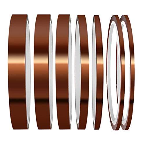 Osuter 7PCS Kapton Tape Isolierband Hitzebeständiges Klebeband Golden Polyimid Klebeband(6 Größen)