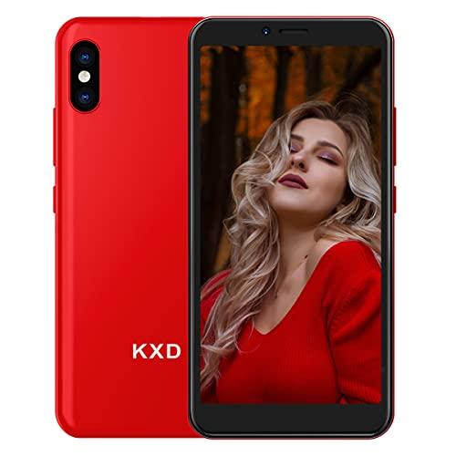 KXD 6A (2021) Smartphone ohne Vertrag Simlockfrei Handy Android Go 3G Dual SIM 8GB ROM 64GB erweiterbar 5,5 Zoll Display Gesichtserkennung Günstig Einsteiger Mobile Phone mit Tempered Glass, Rot