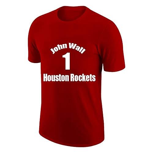 W&F Camiseta deportiva de manga corta para hombre John Wall # 1 para correr, transpirable, para gimnasio, tallas S-XXXL (color: rojo, talla: XL)