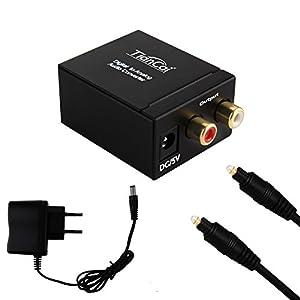 Tiancai Convertidor Digital a Analógico DAC a Analógico Audio Estéreo L/R RCA con Cable óptico Toslink para PS3 HD DVD PS4 Sky HD BLU-Ray Home Cinema