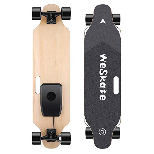 WeSkate 35' Electric Skateboard Longboard with Remote Controller, 3 Speed Adjustment, 12 MPH Top Speed, 350W Single Motor, 10 Miles Range, Load up to 220Lbs, 8 Layers Maple