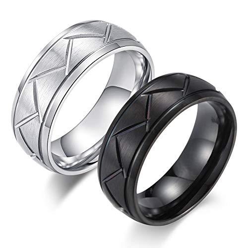 ZZXGWQ Neuer hochwertiger gravierender Autoreifen Herrenring Schwarz Silber Farbe Edelstahl Biker Ring Für Herren Geschenkschmuck 7 Silber