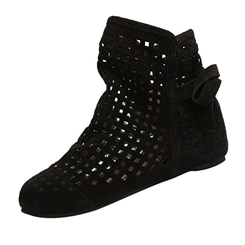VJGOAL Damen Stiefel, Damen Mode Hohl Flache Low Versteckt Wedges Cutout Slip On Schuhe Casual Niedlichen Ankle Herbstliche Stiefel (41 EU, Schwarz)