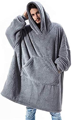 KISSAI The Original Sherpa - Sudadera con capucha de gran tamaño, con bolsillo frontal grande, suave, acogedora y cálida, color gris