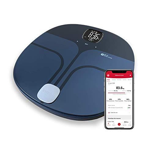 Terraillon Master Coach - Báscula de baño (conexión con smartphone o tablet, hasta 8 usuarios, capacidad de carga de 180 kg), color negro