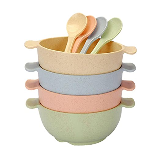Hainice Paja de Trigo Tazón Conjunto de Cereales irrompible Cuenco de Cuchara Ligera Respetuoso del Medio Ambiente Seguro para microondas con Asas para Sopa de Fideos niño de los Cabritos 4PCS