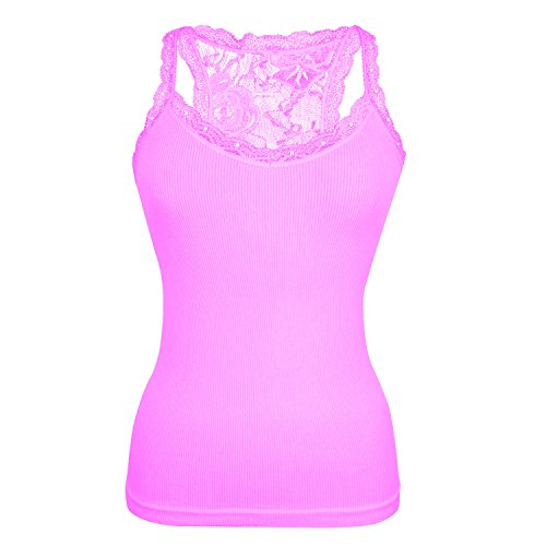 Glamexx24 Top da Donna con Pizzo, Canotta da Donna in Tinta Unita Shirt Senza Maniche per Tutti i Giorni