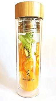 Théière à piston to Go, perfusion Bottle, 450ml, de thé en verre double paroi avec couvercle Passoire en acier inoxydable et bambou