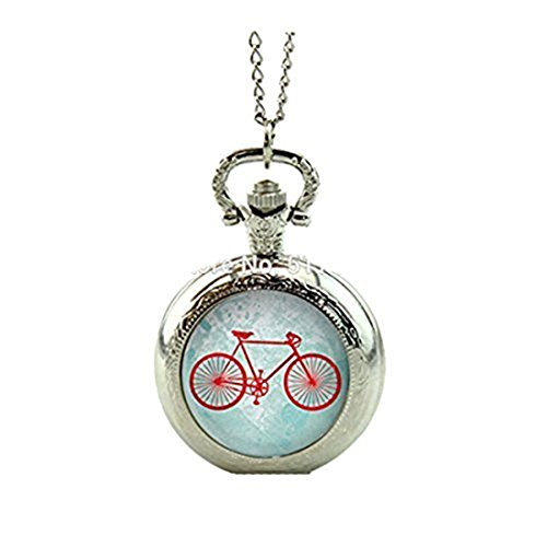 Collar de medallón de bicicleta vintage reloj de bolsillo collar de reloj de bolsillo