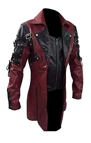 Fashion_First Herren Gothic Poison Steampunk Rave Matrix Ledermantel Gr. XX-Large, kastanienbraun