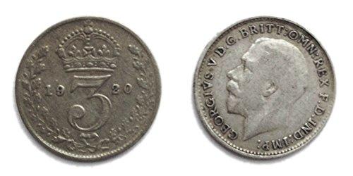Münzen für Sammler - Circulated 1920 britischen Silber Threepence / 3d / Dreigroschen Bit Coin / Großbritannien