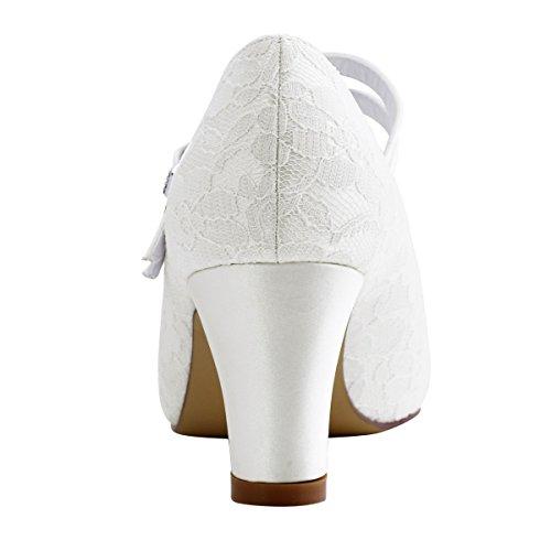 ElegantPark HC1701 Mary Jane Block Absatz Pumps Geschlossene Zehen Lace Satin Brautschuhe Ivory Gr.40 - 6