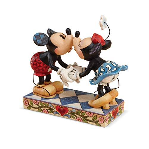 """Disney Traditions by Jim Shore Mickey Mouse Kissing Minnie Stone Resin Figurine, 6.5"""""""