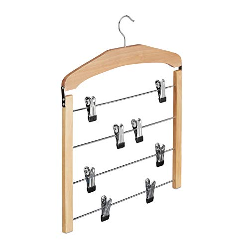 Relaxdays Rockhanger, broekhanger hout, 360 ° draaibare haak, kleerhanger antislip, HBT 45,5 x 39 x 2,5 cm, zilver/natuur, per stuk verpakt
