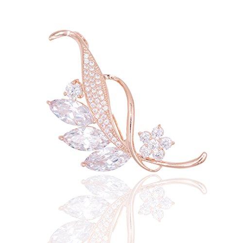 Hanie Damen Brosche Rosegold Blatt Anstecknadel Weiß Marquise Zirkonia kommt mit Rose Gold Edelstahl Kette können auch als Halskette tragen Werden Passt Pullover Mantel Anzug als Geburtstagsgeschenk