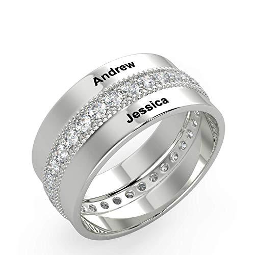 Personalisierte Engagement Silberringe für Männer und Frauen mit kostenlosen Gravur 2 Name zu paar Versprechen Ring für Sie und Ihn maßgeschneiderte Geschenke für Hochzeitsgeschenke für Braut und Bräu
