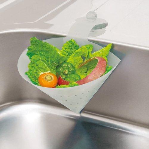 マーナ たためる水切り三角ポット大 「Kitchen Garden」 ホワイト