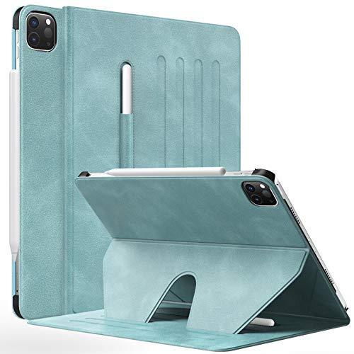 MoKo Custodia Compatibile con iPad Pro 12.9 2021 con Angolazione Supporto 4 Livelli, Supporto Magnetico, Cover per iPad Pro 12.9 2021, Nube Blu