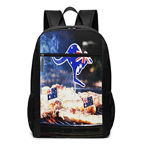 Schulrucksack Australischer Grill Close Up Man, Schultaschen Teenager Rucksack Schultasche Schulrucksäcke Backpack für Damen Herren Junge Mädchen 15,6 Zoll Notebook