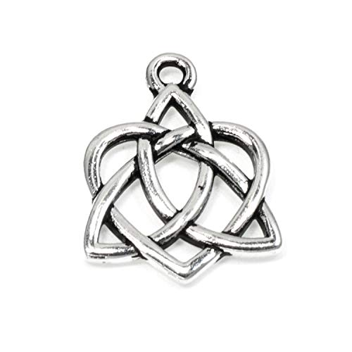 Silver Small Celtic Open Heart Charms, TierraCast Love Knot Charm 2/Pkg