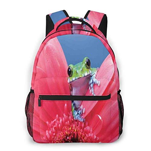 Lawenp Mochila Unisex de Moda Tree Frog Daisy Art Bookbag Bolsa de computadora portátil Ligera para Viajes Escolares Acampar al Aire Libre