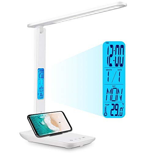 Wanjiaone Lámpara de Escritorio LED, Lámpara de Mesa Regulable con Pantalla LCD, Reloj Despertador, Temperatura y Calendario, Luz de Escritorio con 5 Modos de Iluminación para Estudio, Hogar y Oficina