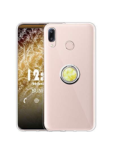 Sunrive Kompatibel mit HTC Desire 19 Plus Hülle Silikon, Transparent Handyhülle 360°drehbarer Ständer Ring Fingerhalter Fingerhalterung Schutzhülle Etui Hülle(Goldener Marmor) MEHRWEG