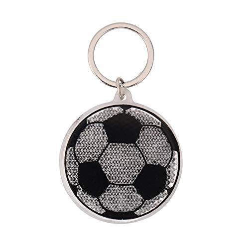 Gruss und Co 45960 Reflektor Fußball, Schwarz, Weiß, Grün Anhänger, Kunststoff, Metall, Länge Ring 9,5 cm, Breite 5,5 cm