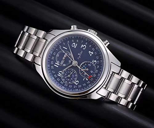 PLKNVT Luxury Men Watch Acciaio Inossidabile Blu Zaffiro Meccanico Automatico in Pelle Marrone Calendario Perpetuo Lunaphase BiancoArgento Blu