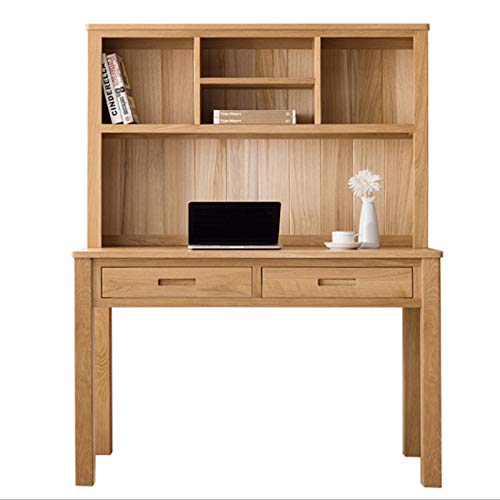Desk with Bookshelf Home Office Teen Desk, Solid Wood Rounded Corner Design Meets Home Safety Convenient Storage