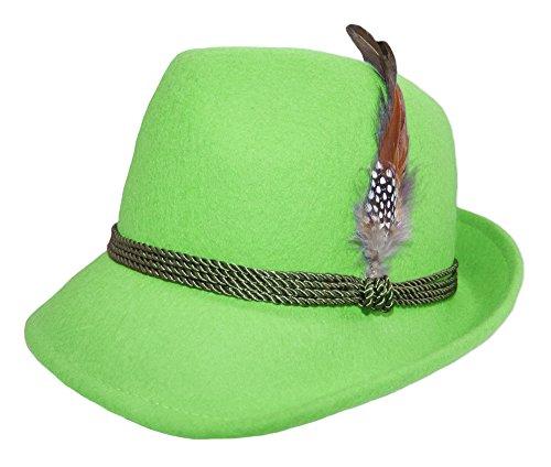 Trachtenland Damen Trachtenhut mit Feder Apfelgrün Gr. 55