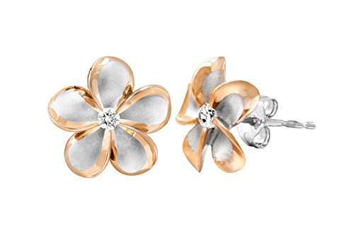 Sterling Silver with 14k Rose Gold Plated Trim CZ Plumeria Stud Earrings, 12mm 14k Gold Hawaiian Flower