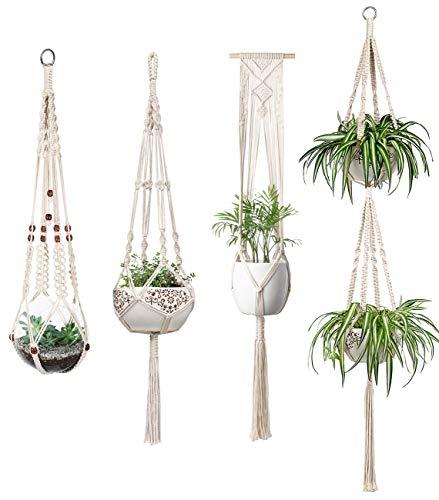 Mkouo Macramé Perchas de Plantas Set of 4 Jardinera para Colgar en Interiores Basket Titular de Maceta Decoración del hogar de latón Caja de Regalo