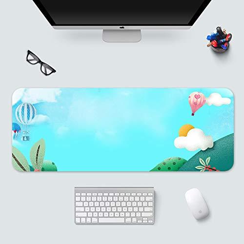 alfombrilla de ratón xxl Alfombrilla Gaming para ratón 700x300x3mm Dibujos animados nubes globo aerostático plantas verdes Mouse Pad precisión y Velocidad Parte Inferior de Goma para una sujeción Esta