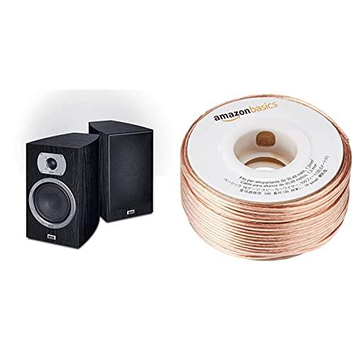 HECO Victa Prime 302 | 2 Wege Heimkino- und Stereo-Regallautsprecher | 1 Paar - schwarz & Amazon Basics 16-Gauge Speaker Wire - 100 Feet