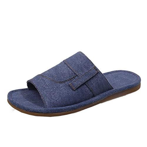 TDYSDYN Sandalias de Punta Descubierta Unisex Adulto,Zapatillas de baño en el baño, Use Sandalias y Zapatillas de Moda afuera-Azul_35