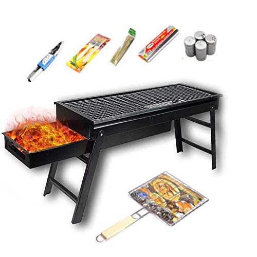 Barbecue Grill Stainless Steel Foldable,for BBQ Home Festival Garden Picnic Party Camping (Size : 6PCS)