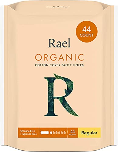 Rael Certified Organic Panty Liners - Chlorine Free, Unscented Pantiliners (Regular, 44 Count)