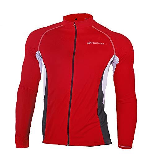 LINGYUN Men's Reflective Cycling Jersey, Breathable Quick Drying Cycling Jackets Long Sleeve Cycling Suits, Full Zipper Mountain Bike MTB Shirt Bike Tops Outdoor Sports Coat,Red,XXL