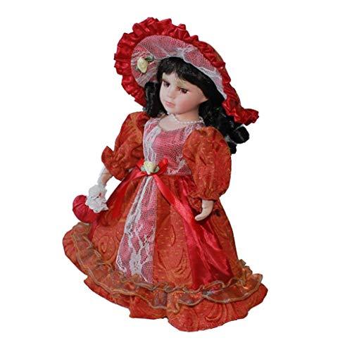 Bambole di Porcellana Femminile Elegante 30 Cm Personaggi in Abito da Principessa - Rosso