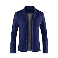Allthemen Mens Casual Blazer Slim fit Long Sleeve Jacket Washed Cotton 3-Button Casual Suits Blazer Jackets, Navy (3 Button), M #2
