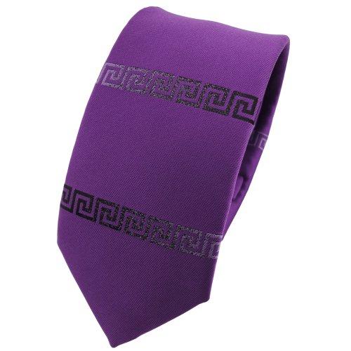 ohne Markenname schmale Krawatte in violett anthrazit uni bordürenmuster - Krawatte Binder Tie