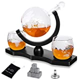 Denkee Whiskey Globe Decanter Set with 2 Etched Globe Glasses for Liquor, Whiskey, Bourbon, Brandy, Gin, Rum, Tequila and Vodka - Home Bar Accessories for Men and Women