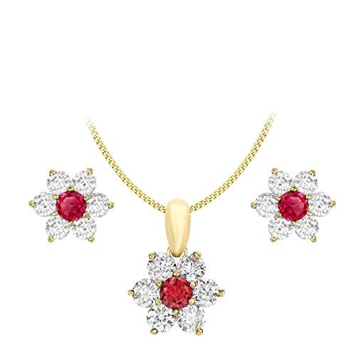 Carissima Gold Juego de joyas de mujer, con oro amarillo de 9K, circonita roja