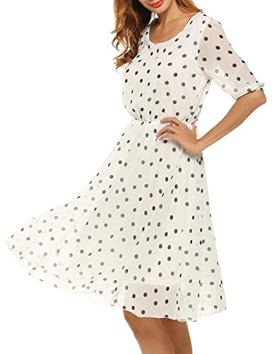 Meaneor Damen Elegantes Sommerkleid mit Tupfendessin transparentes Halbarm Chiffon Knielang festliches Kleid Cocktail Party in weiß S 36