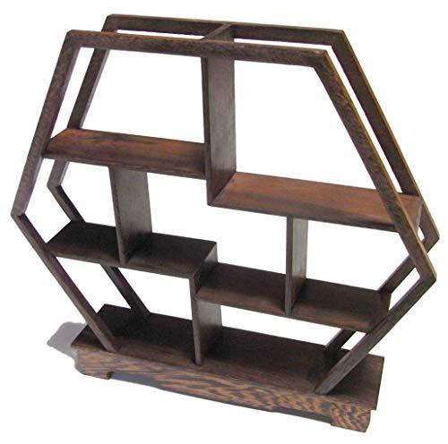 木製 アンティーク 調 飾り棚 ラック 香炉台 瓶台 花台 盆栽台 珍品棚 中国茶器 オブジェ (六角形)