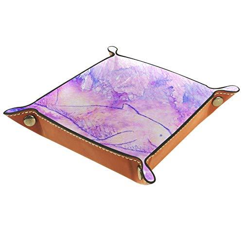 chuangxin Dolphin - Caja de almacenamiento plana de piel con cubo de microfibra, suministros de oficina, artículos de papelería de escritorio, caja de artilugios, 20,5 x 20,5 cm, multicolor, 20.5x20.5cm